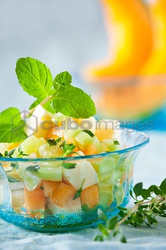 Melon salad with cucumber, feta and mint