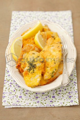 Chicken fillet coated with saffron crust