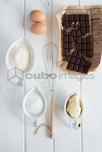 Baking Ingredients,bowl of Flour, eggs, whisk