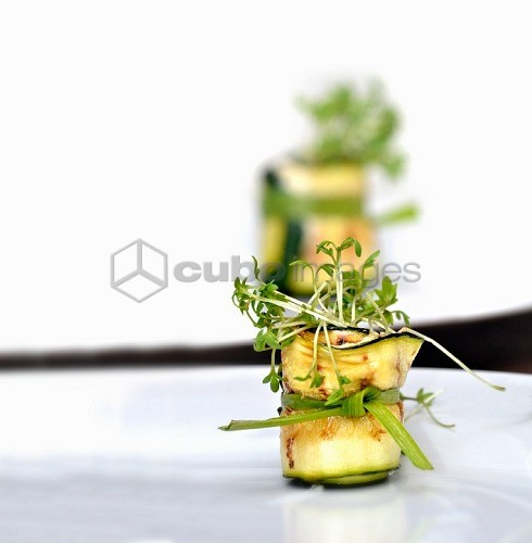Courgette rolls with fresh cress