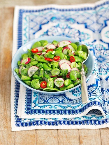 Bean salad with chilli peppers, radishes and dill