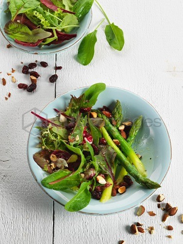 Asparagus salad with nuts and cranberry vinaigrette